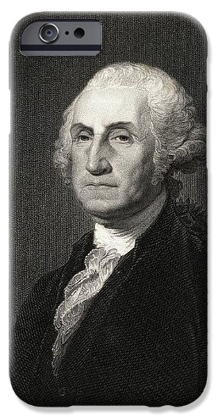 First Black President Drawings iPhone Cases - George Washington 1732-1799. First iPhone Case by Ken Welsh