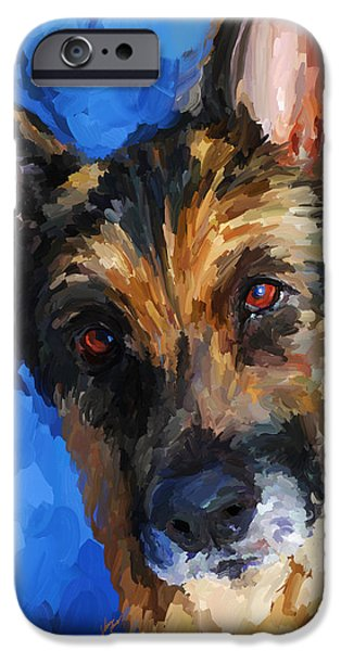 Police Dog iPhone Cases - German Shepherd iPhone Case by Jai Johnson