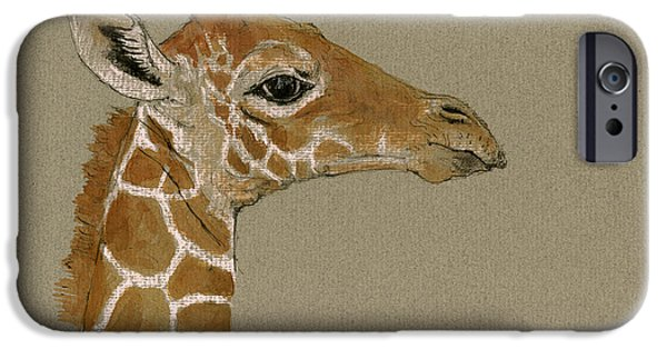 Safari Prints iPhone Cases - Giraffe head study  iPhone Case by Juan  Bosco