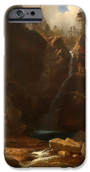 Beautiful Scenery Paintings iPhone Cases - Glen Ellis Falls iPhone Case by Albert Bierstadt