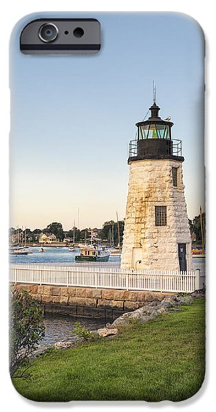 Beach Landscape iPhone Cases - Goat Island Lighthouse  iPhone Case by Marianne Campolongo