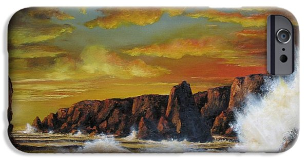 Sunset Reliefs iPhone Cases - Golden Yellow Sunset iPhone Case by John Cocoris