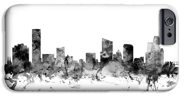 Rapids iPhone Cases - Grand Rapids Michigan Skyline iPhone Case by Michael Tompsett