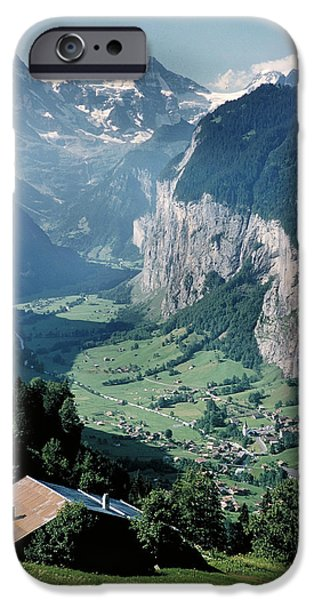 Grindelwald iPhone Cases - Climbing the Jungfrau iPhone Case by Carl Purcell