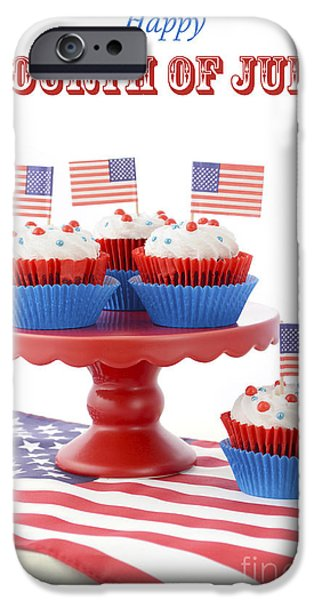 Independance Day Photographs iPhone Cases - Happy Fourth of July Cupcakes on Red Stand iPhone Case by Milleflore Images