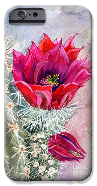Marilyn Smith Paintings iPhone Cases - Hedgehog Cactus iPhone Case by Marilyn Smith