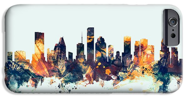 United States iPhone Cases - Houston Texas Skyline iPhone Case by Michael Tompsett