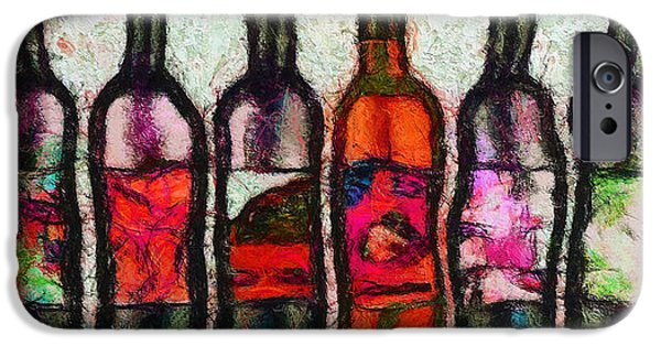 Wine Bottles iPhone Cases - Huit Choix Abstraites. iPhone Case by Sir Josef  Putsche