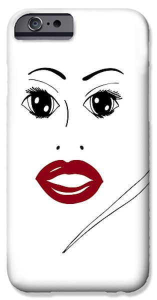 Beautiful Drawings iPhone Cases - Illustration of a woman in fashion iPhone Case by Frank Tschakert
