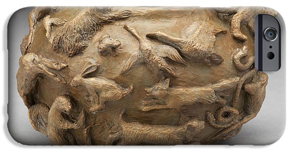 Relief Sculpture Reliefs iPhone Cases - In the Wild - Bronze Wildlife Bowl iPhone Case by Dawn Senior-Trask