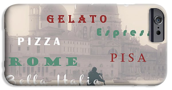 Text Art iPhone Cases - Italy iPhone Case by Joana Kruse