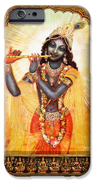 Hindu Goddess iPhone Cases - Krishna with the Flute  iPhone Case by Ananda Vdovic