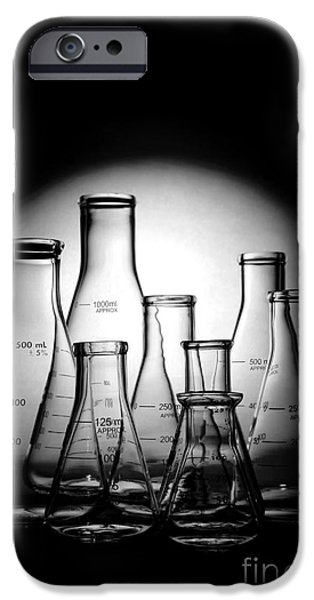Chemistry iPhone Cases - Laboratory Glassware in Science Research Lab iPhone Case by Olivier Le Queinec