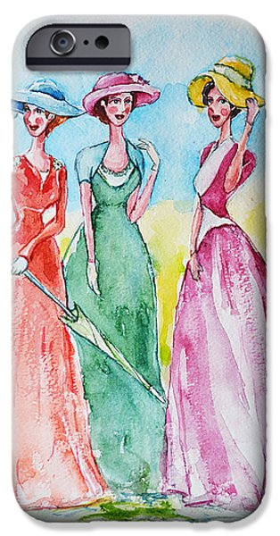 Tea Party iPhone Cases - Ladies in Talk iPhone Case by Mikyong Rodgers