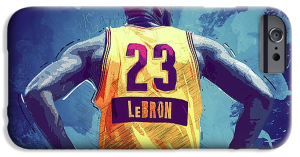 Bob Ross Digital iPhone Cases - Lebron James iPhone Case by Semih Yurdabak