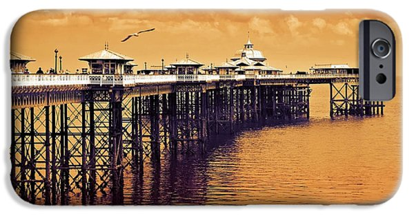Father iPhone Cases - Llandudno pier North Wales UK iPhone Case by Mal Bray
