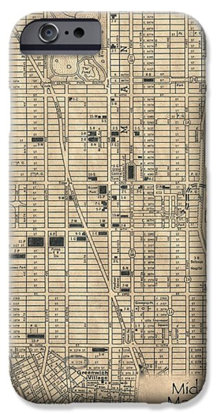 Old Digital Art iPhone Cases - Manhattan New York Antique Vintage City Map iPhone Case by ELITE IMAGE photography By Chad McDermott