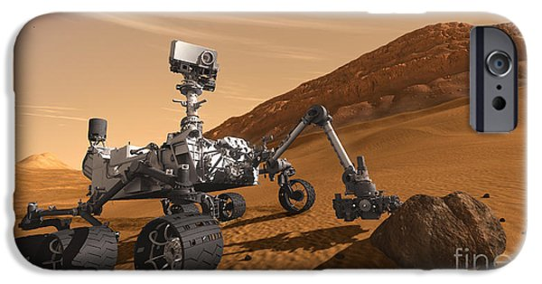 Science Collection - iPhone Cases - Mars Rover Curiosity, Artists Rendering iPhone Case by NASA/Science Source
