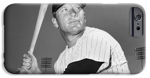 Pinstripes iPhone Cases - Mickey Mantle (1931-1995) iPhone Case by Granger