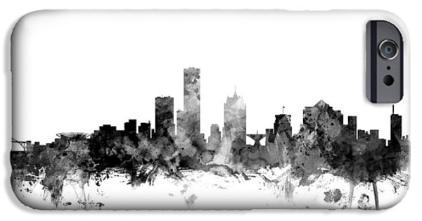 Wisconsin iPhone Cases - Milwaukee Wisconsin Skyline iPhone Case by Michael Tompsett