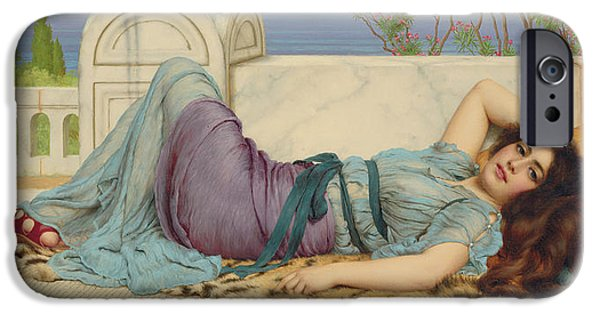 Tree Art Print iPhone Cases - Mischief and Repose iPhone Case by John William Godward