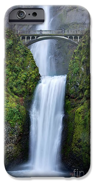 Green Foliage iPhone Cases - Multnomah Falls Waterfall Oregon Columbia River Gorge iPhone Case by Dustin K Ryan