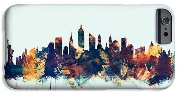 New York City Digital Art iPhone Cases - New York City Skyline iPhone Case by Michael Tompsett