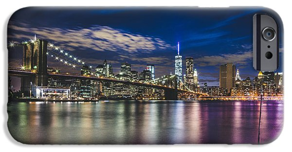 Hudson River iPhone Cases - New York cityscape nightview iPhone Case by Leonardo Patrizi