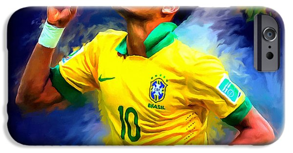 Recently Sold -  - Abstract Digital Art iPhone Cases - Neymar Football Soccer Landscape Art Painting iPhone Case by Andres Ramos