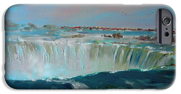 Canada Paintings iPhone Cases - Niagara falls iPhone Case by Ylli Haruni