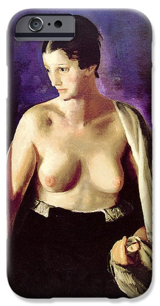 Woman With Black Hair iPhone Cases - Nude With White Shawl iPhone Case by George Bellows
