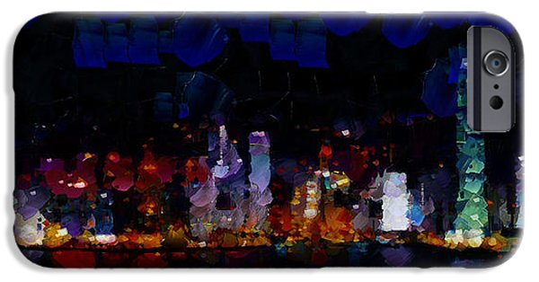 Hong Kong Paintings iPhone Cases - One night in Hong Kong.. iPhone Case by Sir Josef  Putsche Social Critic