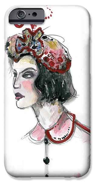 Original Watercolor iPhone Cases - Original watercolor fashion illustration iPhone Case by Marian Voicu