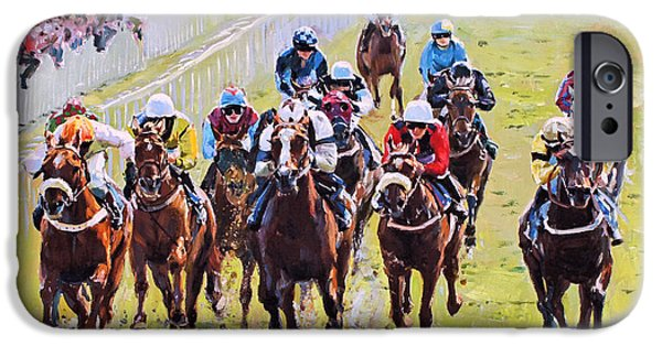 Horse Racing iPhone Cases - Outside Chance iPhone Case by Conor McGuire