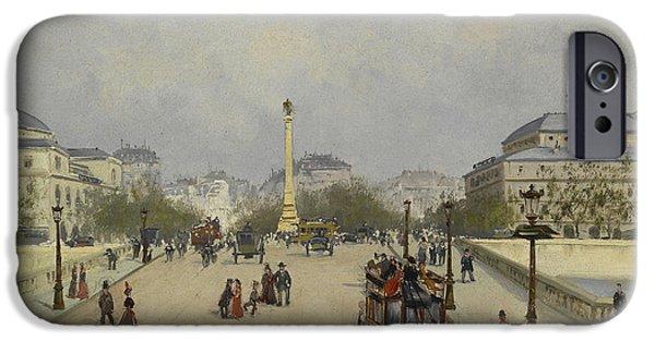 Eugene Galien-laloue iPhone Cases - Parisian Street Scene iPhone Case by Celestial Images