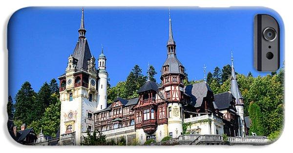 Balcony iPhone Cases - Peles Castle In Sinaia, Romania iPhone Case by Radu Bercan