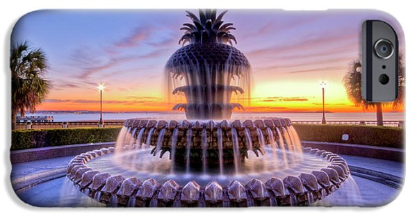 Palm Tree iPhone Cases - Pineapple Fountain Charleston SC Sunrise iPhone Case by Dustin K Ryan