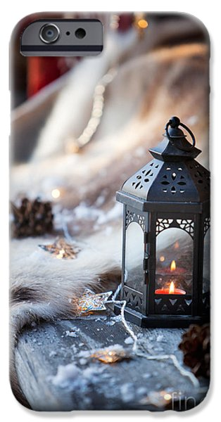 Snowy Night iPhone Cases - Porch decoration iPhone Case by Kati Molin