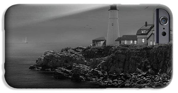 Flying Seagull iPhone Cases - Portland Head Lighthouse iPhone Case by Mike McGlothlen