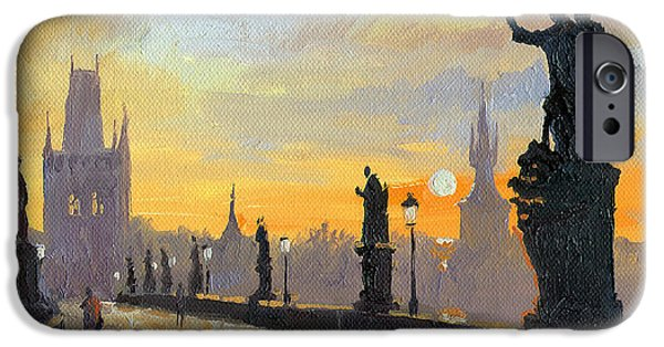 Oil On Canvas iPhone Cases - Prague Charles Bridge 01 iPhone Case by Yuriy  Shevchuk