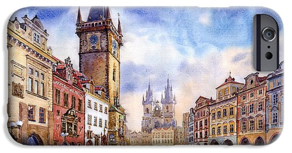 Watercolour iPhone Cases - Prague Old Town Square iPhone Case by Yuriy  Shevchuk