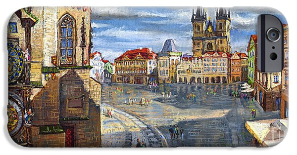 Old Pastels iPhone Cases - Prague Old Town Squere iPhone Case by Yuriy  Shevchuk