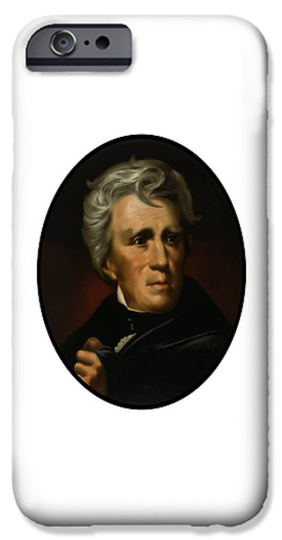 American History iPhone Cases - President Andrew Jackson  iPhone Case by War Is Hell Store