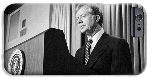 Democratic Party iPhone Cases - President Jimmy Carter iPhone Case by War Is Hell Store