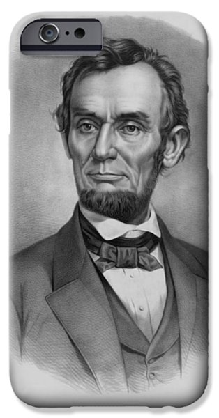 War Drawings iPhone Cases - President Lincoln iPhone Case by War Is Hell Store