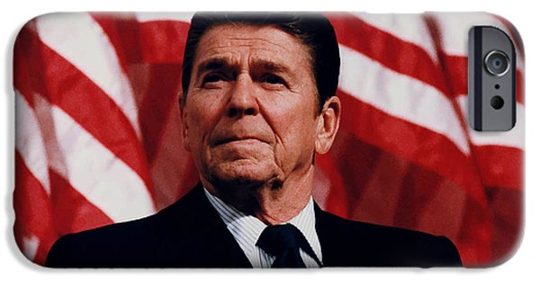 Flag iPhone Cases - President Ronald Reagan iPhone Case by War Is Hell Store
