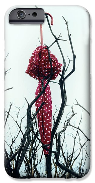 Red Umbrella iPhone Cases - Red Umbrella iPhone Case by Joana Kruse
