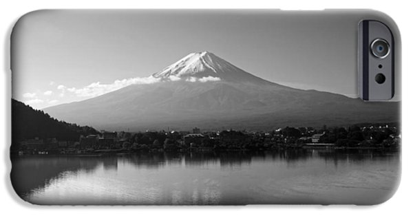 Japan Town iPhone Cases - Reflections of Mt Fuji iPhone Case by Suthum W