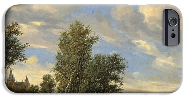 Boats In Water Paintings iPhone Cases - River Landscape With Ferry iPhone Case by Salomon Van Ruysdael
