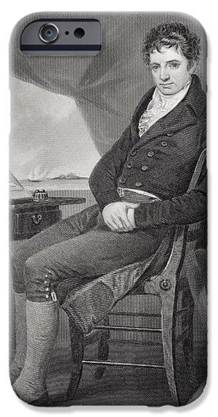 Figures iPhone Cases - Robert Fulton 1765 - 1815. American iPhone Case by Ken Welsh